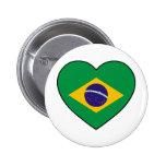 Brazil Heart Soccer Pin Redondo 5 Cm