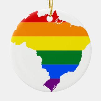 Brazil LGBT Flag Map Ceramic Ornament