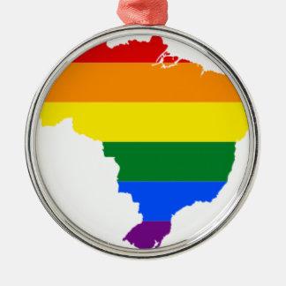 Brazil LGBT Flag Map Metal Ornament