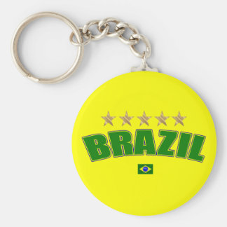 Brazil Logo 5 gold star cup winners tees and gifts Key Chain