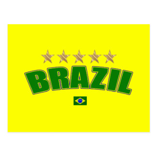 Brazil Logo 5 gold star cup winners tees and gifts Postcards
