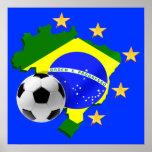 Brazil map 5 stars soccer ball gifts poster