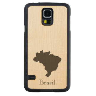 Brazil Map Carved Maple Galaxy S5 Case