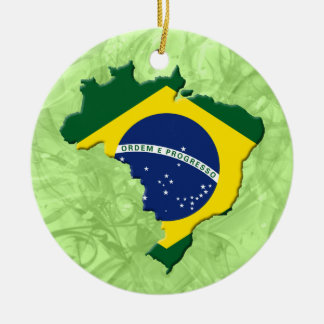 Brazil map ceramic ornament