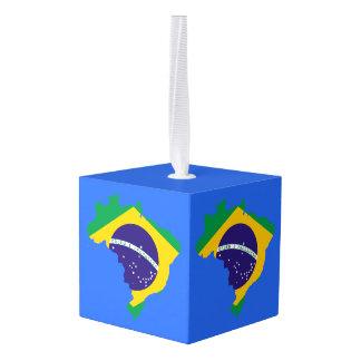 Brazil Map Cube Wooden Ornament