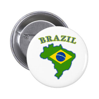BRAZIl Map/Flag 2 Inch Round Button