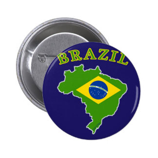 BRAZIL Map/Flag on Navy Background 2 Inch Round Button