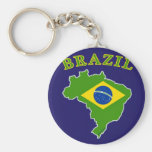 BRAZIL Map/Flag on Navy Background Basic Round Button Keychain