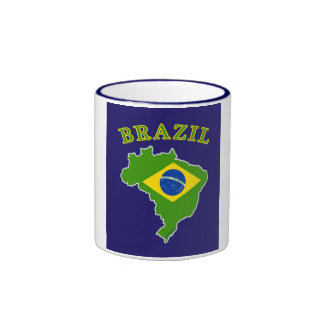 BRAZIL Map/Flag on Navy Background Mug