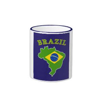 BRAZIL Map/Flag on Navy Background Ringer Mug