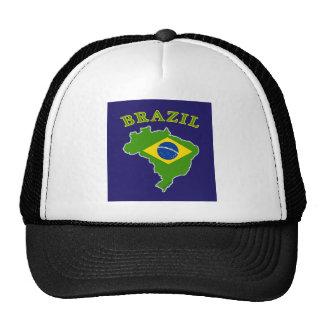 BRAZIL Map/Flag on Navy Background Trucker Hat