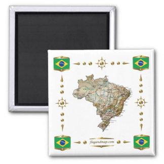 Brazil Map + Flags Magnet