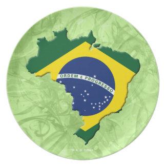 Brazil map melamine plate