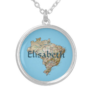 Brazil Map + Name Necklace