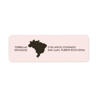 Brazil Map: Personalized: Pink Label