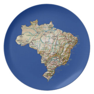 Brazil Map Plate