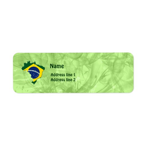 Brazil map return address label