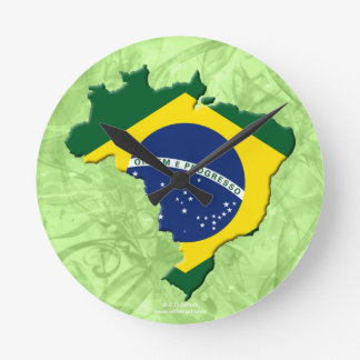 Brazil map round clock