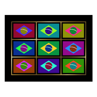 Brazil Multihue Flags Postcard