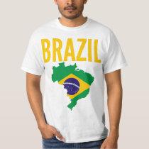 Brazil National Map T Shirt