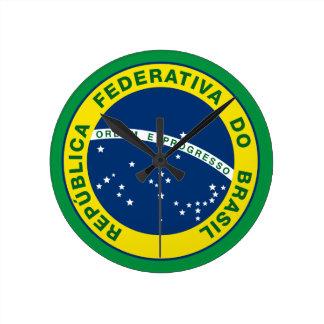 brazil national seal round clock