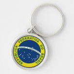 brazil national seal Silver-Colored round keychain