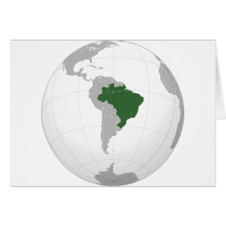Brazil (orthographic projection) greeting card