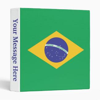 Brazil Plain Flag 3 Ring Binder