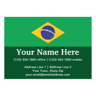 Brazil Plain Flag Large Business Cards (Pack Of 100)