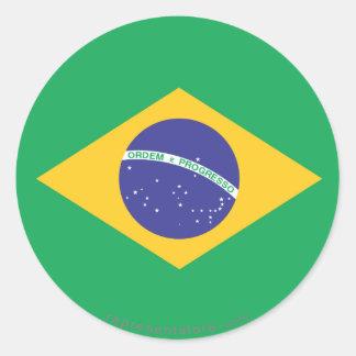 Brazil Plain Flag Classic Round Sticker