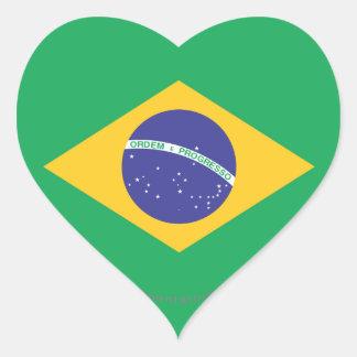 Brazil Plain Flag Heart Sticker