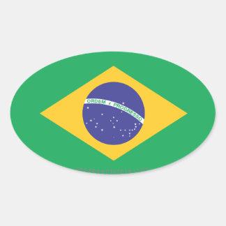 Brazil Plain Flag Oval Sticker