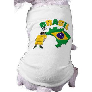 Brazil - Pug Football Player - Dog T-Shirt