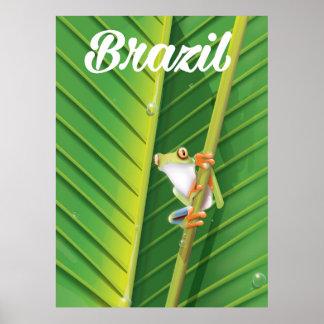 Brazil rainforest tree frog travel poster