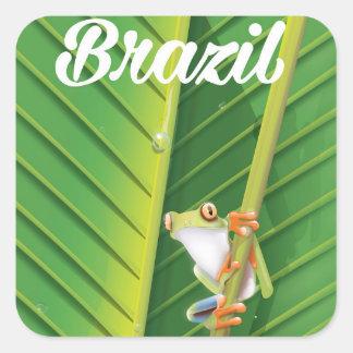 Brazil rainforest tree frog travel poster square sticker