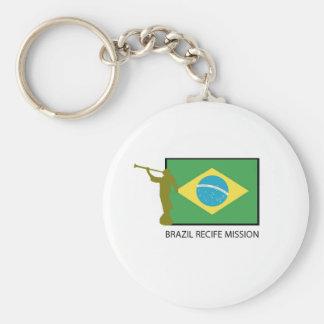BRAZIL RECIFE MISSION LDS BASIC ROUND BUTTON KEYCHAIN