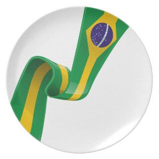 brazil ribbon flag party plate