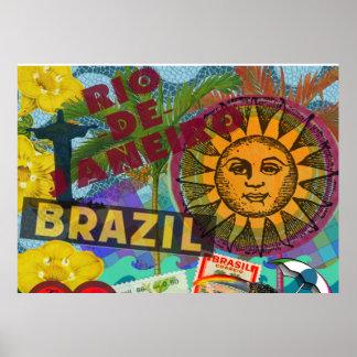 Brazil Rio Collage Sun South America Poster