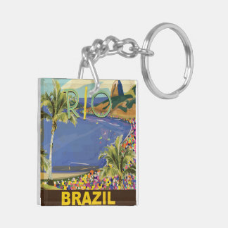 Brazil - Rio De Janeiro Double-Sided Square Acrylic Keychain