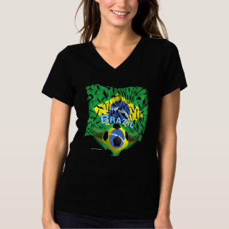 Brazil Shatters Soccer Ladies Plus Size V-neck T T-Shirt