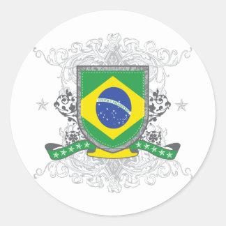 Brazil Shield Classic Round Sticker