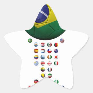 Brazil Soccer  1010 Star Sticker