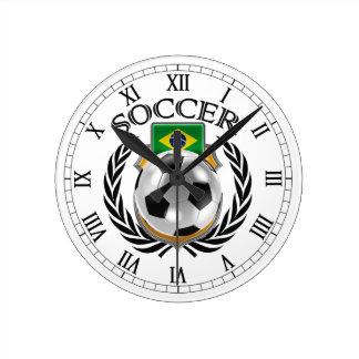 Brazil Soccer 2016 Fan Gear Round Clock