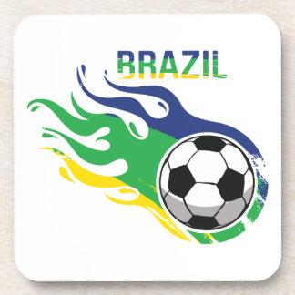 Brazil Soccer Ball Beverage Coaster
