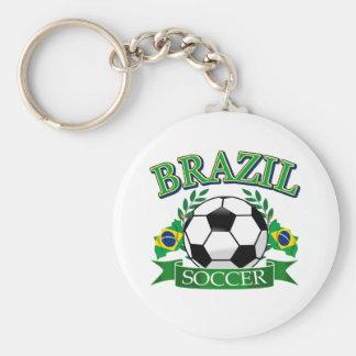 Brazil soccer ball designs basic round button keychain