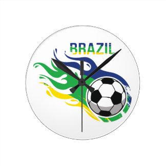 Brazil Soccer Ball Round Clock