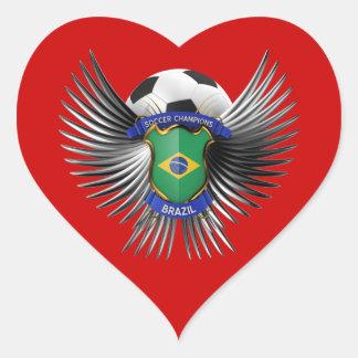 Brazil Soccer Champions Heart Sticker