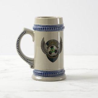 Brazil Soccer Crest Beer Stein