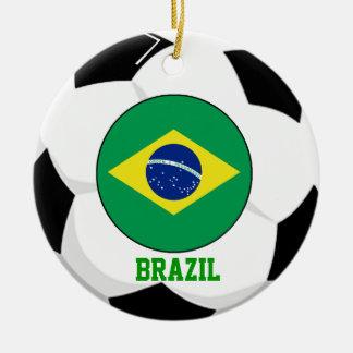 Brazil Soccer Fan Ornament 5 Times World Cup Champ