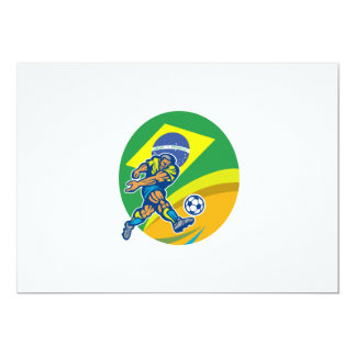 Brazil Soccer Football Player Kicking Ball Retro Personalized Invitation